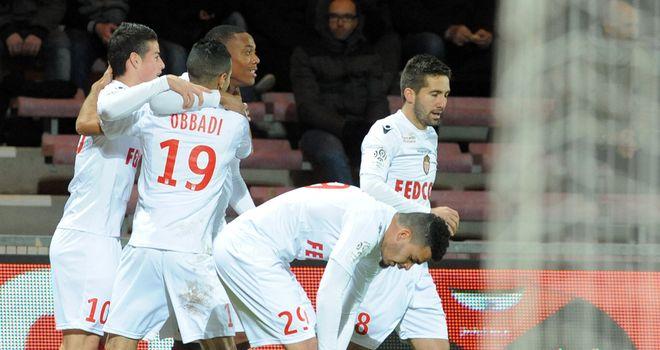 Anthony Martial and Monaco celebrate.
