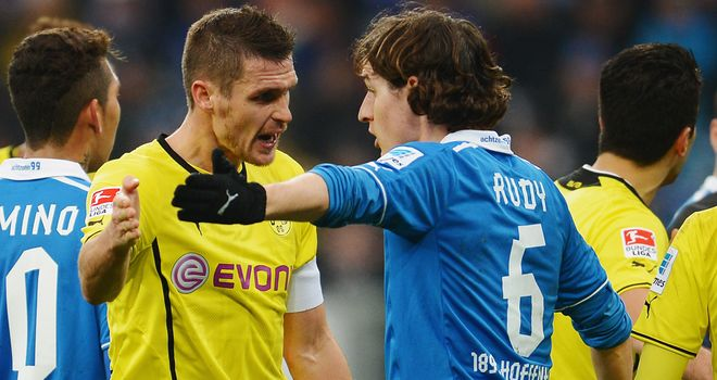 Sebastian Kehl of Dortmund and Sebastian Rudy of Hoffenheim