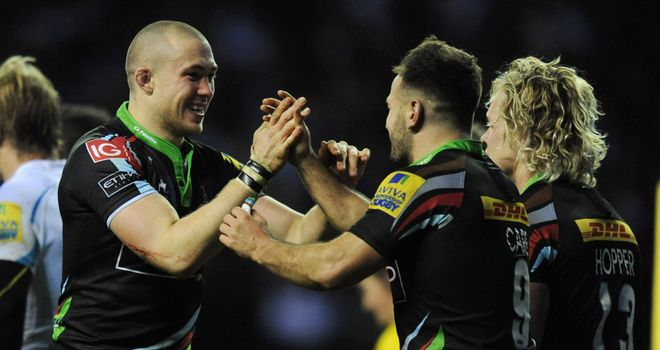Mike Brown celebrates his try with Harlequins team-mates