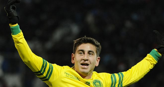 Alejandro Bedoya celebrates his goal for Nantes