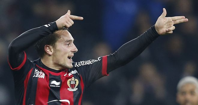 Eric Bautheac celebrates his goal for Nice