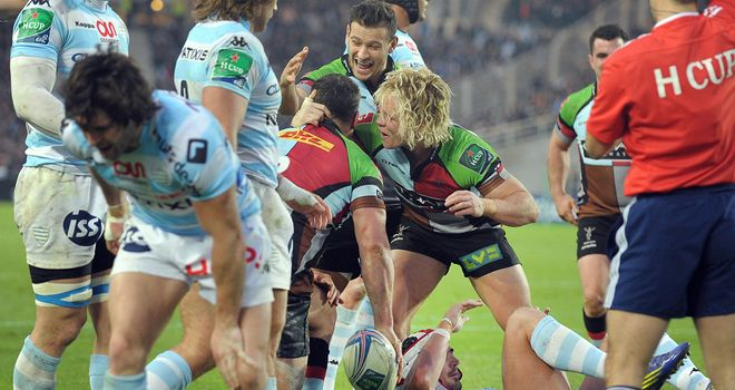 Harlequins' Nick Easter celebrates a try in the mauling of Racing Metro