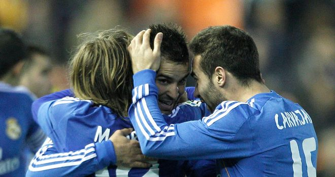 Real Madrid celebrate against Valencia