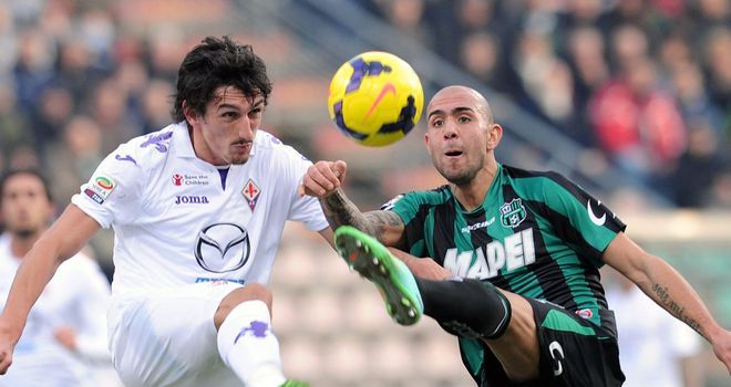 Stefan Savic and Simone Zaza battle for the ball