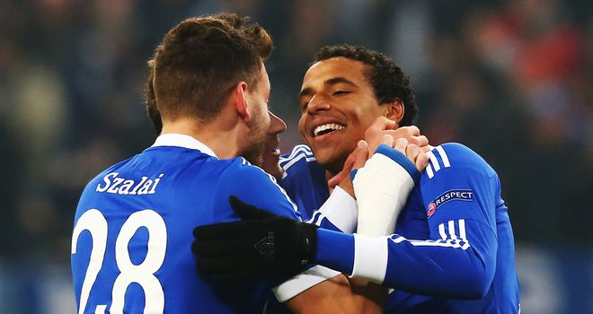 Joel Matip (r): Celebrates his goal against Basel