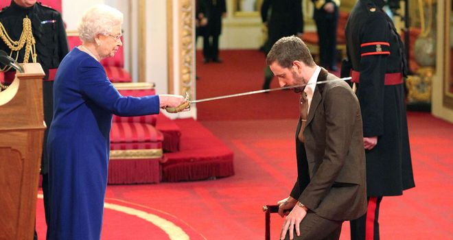 Bradley Wiggins was knighted at a ceremony on Tuesday