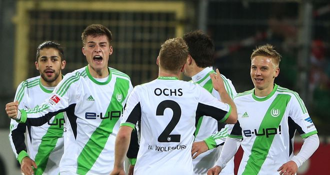 Wolfsburg celebrate against Freiburg