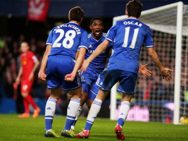 Samuel Eto'o is all smiles as Chelsea beat Liverpool 2-1.