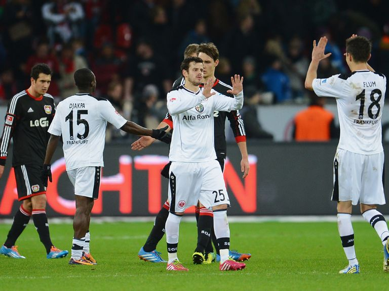 Eintracht Frankfurt celebrates against Bayer Leverkusen