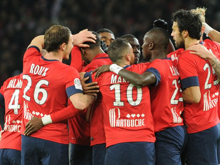 Lille celebrate during their victory
