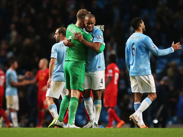 Manchester City celebrate their victory over Liverpool