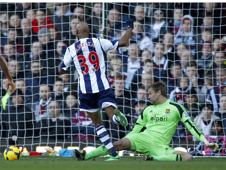 Nicolas Anelka scores against West Ham