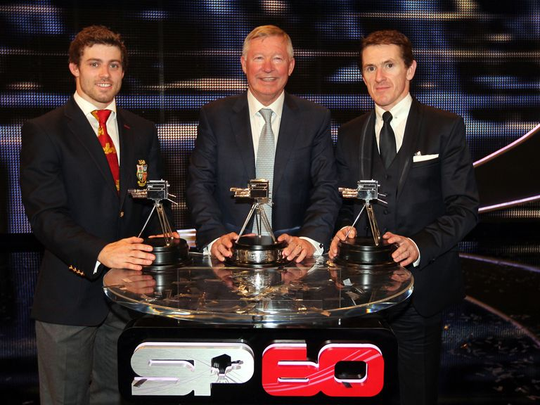Alex Ferguson with second and third Leigh Halfpenny and AP McCoy