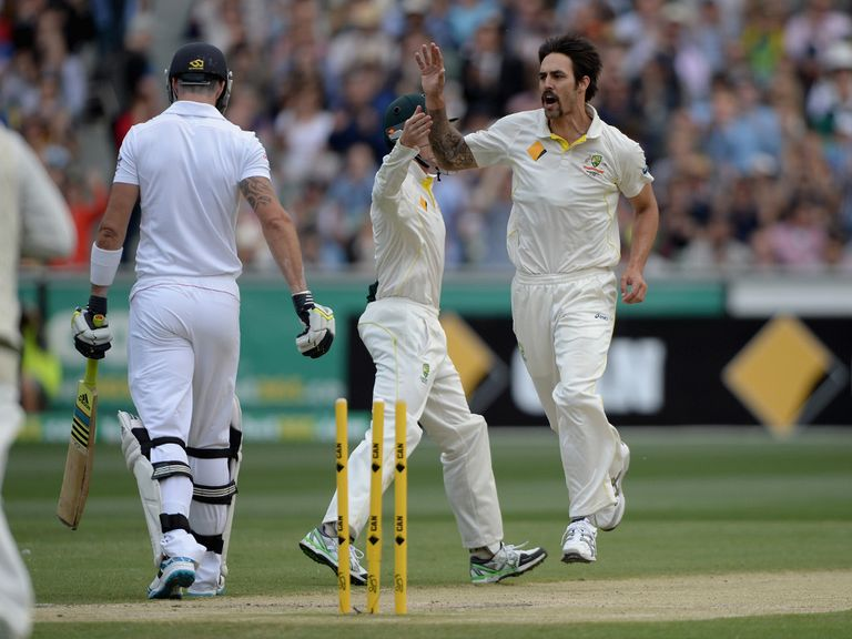 Kevin Pietersen departs to Mitchell Johnson