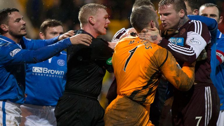Alan Mannus and Ryan Stevenson clash at the weekend