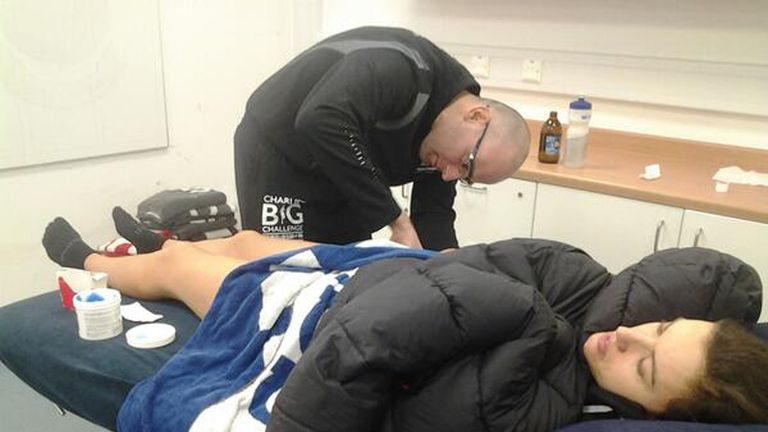 Charlie receives emergency treatment in the treatment rooms at Bolton