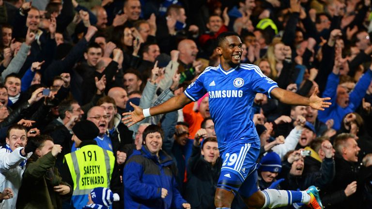 Samuel Eto'o: Netted his first hat-trick in English football to help Chelsea past Manchester United