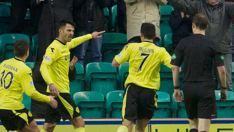 Steven Thomson: Celebrates St Mirren's third at Hibernian