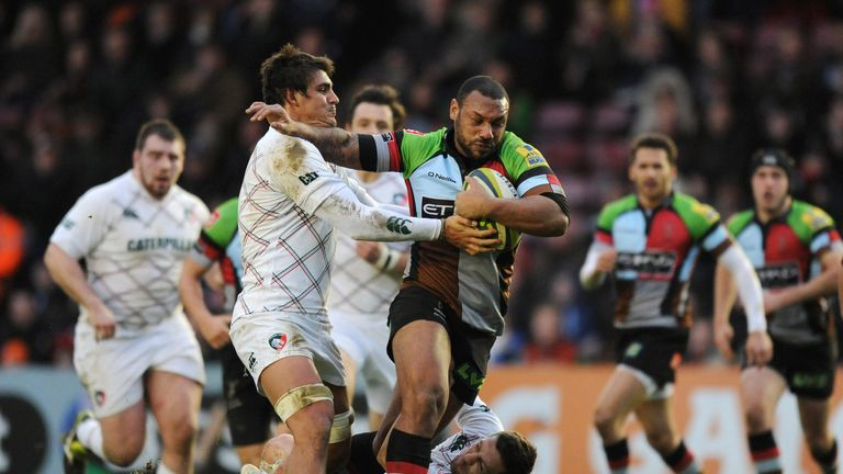 Jordan Turner-Hall makes some hard yards for Harlequins