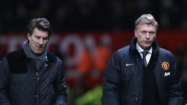Michael Laudrup: Swansea boss (left) with United boss David Moyes