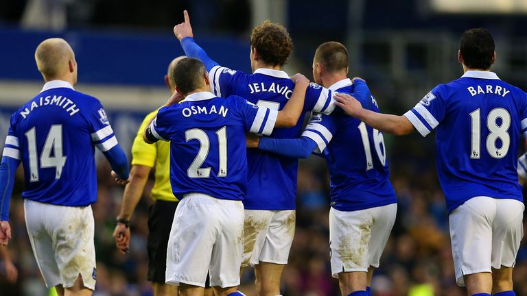 Nikica Jelavic: The striker celebrates after scoring in the win over QPR