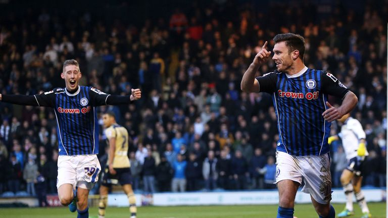 Scott Hogan: Celebrates putting Rochdale on their way to shock win
