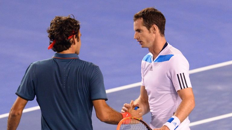 Andy Murray and Roger Federer after four gruelling sets