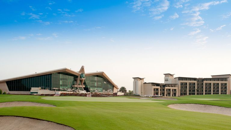 Westin Abu Dhabi Golf Resort Spa and the 18th hole at Abu Dhabi Golf Club