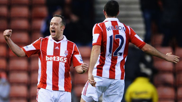 Charlie Adam celebrates Stoke's second goal