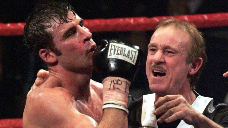 Calzaghe, with father and trainer Enzo, retired after 46 fights - all ending in victory