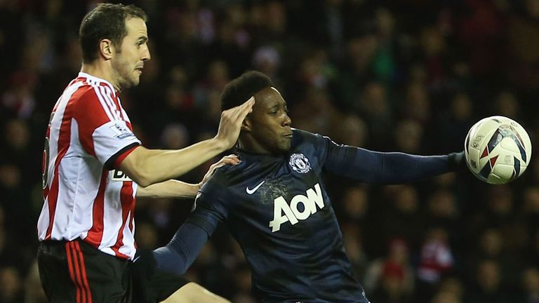 John O'Shea: Sunderland defender watches Danny Welbeck carefully