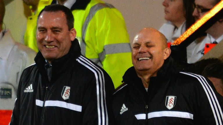 Rene Meulensteen (l) joined by Ray Wilkins (r) on the touchline