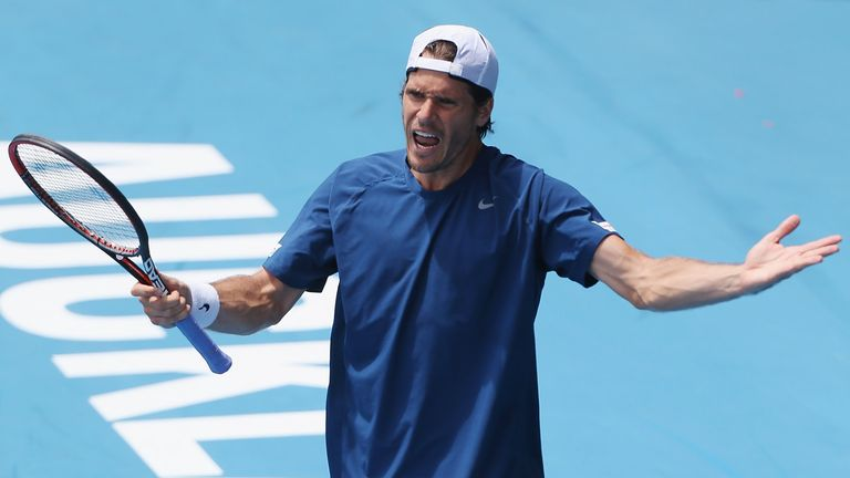 Tommy Haas shows his disappointment during his loss to Jack Sock