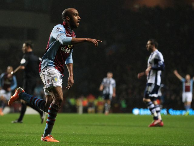 Fabian Delph celebrates scoring for Aston Villa
