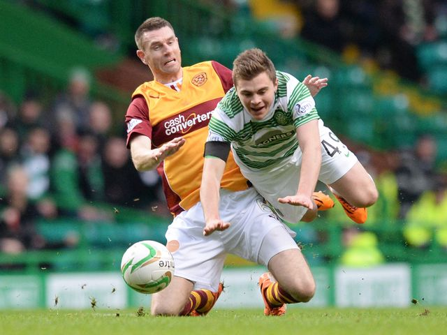 James Forrest takes a tumble