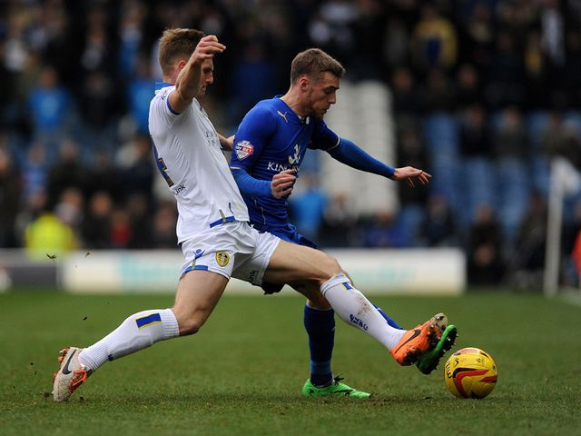 Tom Lees tackles Jamie Vardy
