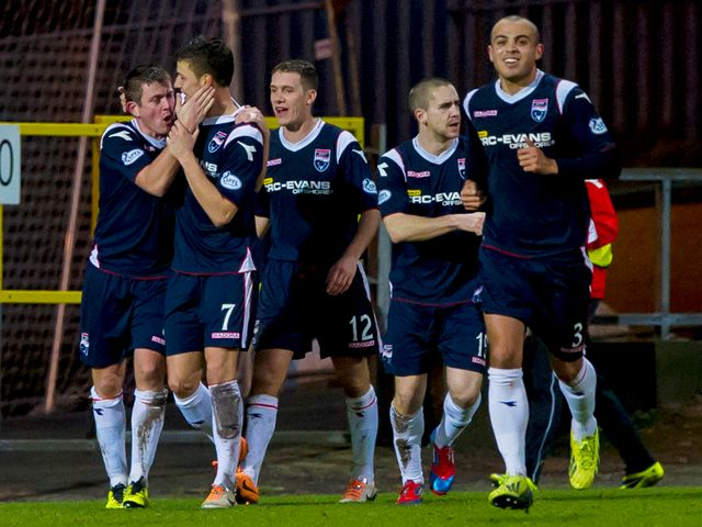 Ross County celebrate Filip Kiss' second goal.