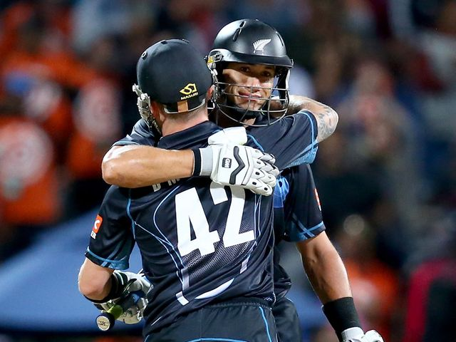 Ross Taylor celebrates with skipper Brendon McCullum