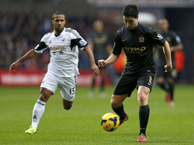 Samir Nasri in action for Manchester City.