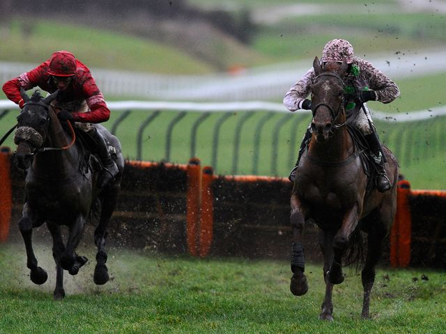 Annie Power (right) sees off Zarkandar (left) at Cheltenham