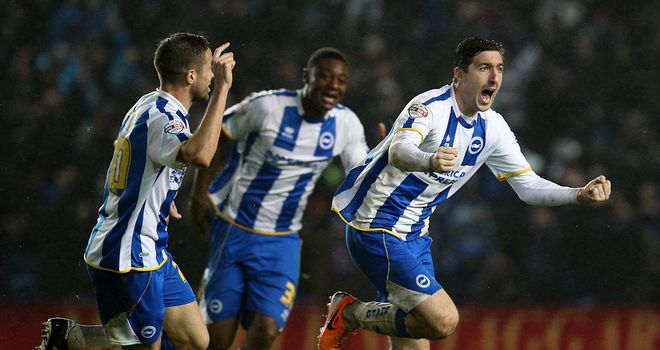 Stephen Ward celebrates winner at the AmEx Stadium