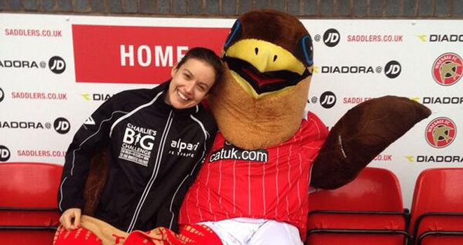 Walsall mascot Swifty helps to keep Charlie's spirits up!