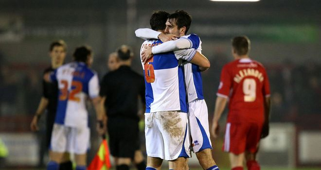 Rovers: Celebrate their win over Crawley in the FA Cup