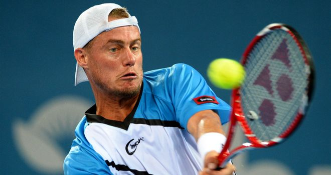 Lleyton Hewitt: Hits a backhand return on his way to beating Feliciano Lopez