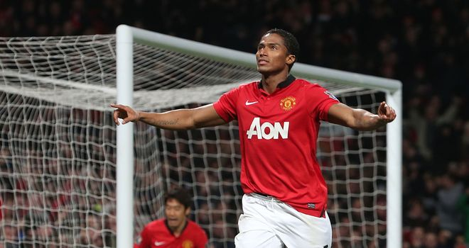 Antonio Valencia: Celebrates the opener for Manchester United