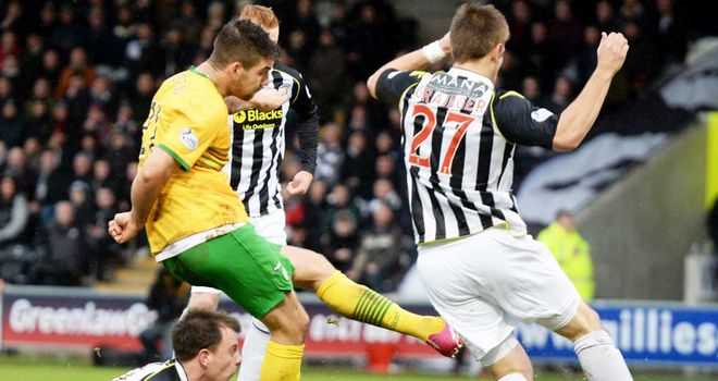 Charlie Mulgrew: Breaks the deadlock for Celtic at St Mirren