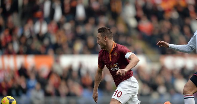 Roma forward Francesco Totti in action