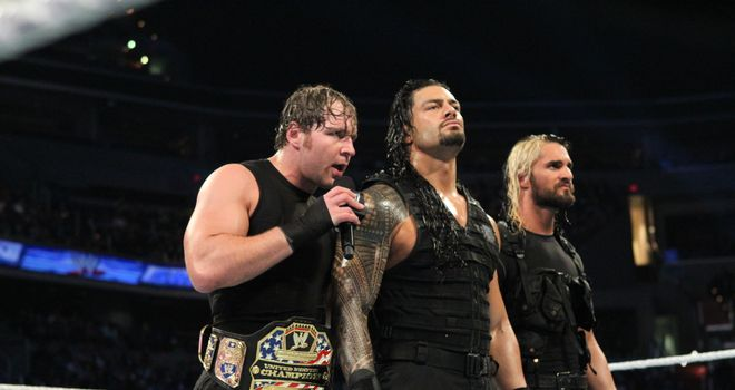 Rollins (far right) will join Shield comrades Ambrose and Reigns in the Royal Rumble