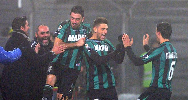 Domenico Berardi of Sassuolo celebrates one of his goals