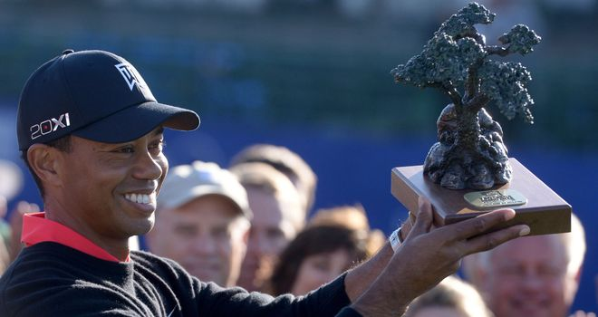 Tiger Woods with the Torrey Pines trophy